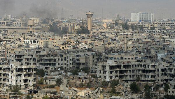 Вид на район Джобар в Дамаске, удерживаемый боевиками Джебхат ан-Нусра