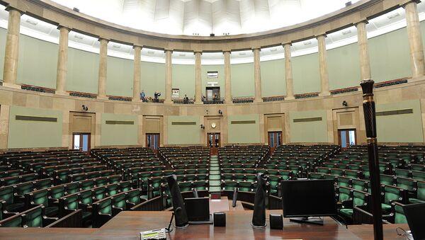 Зал заседаний парламента Польши в Варшаве. Архивное фото