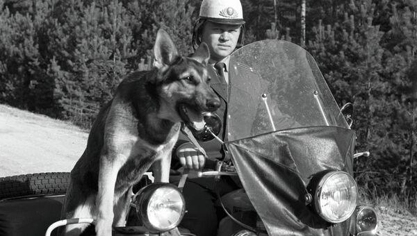 Лейтенант лесной милиции с собакой объезжает лесничество