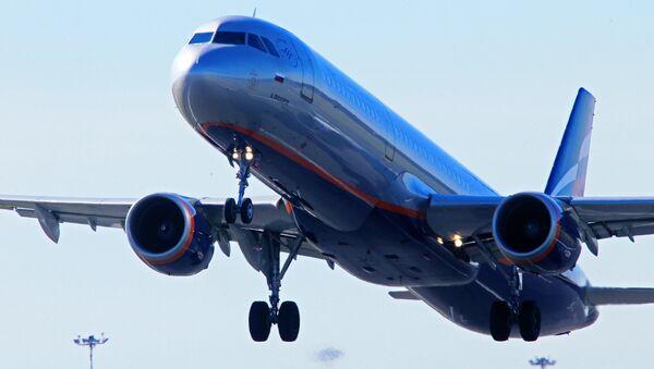 Самолет авиакомпании Аэрофлот в Калининградском аэропорту Храброво. Архивное фото