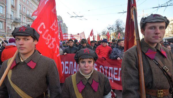 Шествие и митинг, посвященные 98–й годовщине Великой Октябрьской социалистической революции. Архив