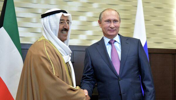 Президент России Владимир Путин и эмир государства Кувейт Сабах Аль-Ахмед Ас-Сабах во время встречи в сочинской резиденции Бочаров ручей