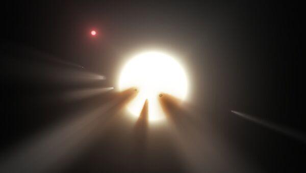 Так художник представил себе рой комет у звезды KIC 8462852