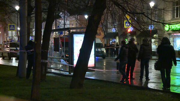 Кадры с места взрыва на автобусной остановке в центре Москвы