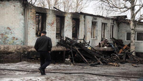 На месте пожара в психоневрологическом диспансере в селе Алферовка. Декабрь 2015
