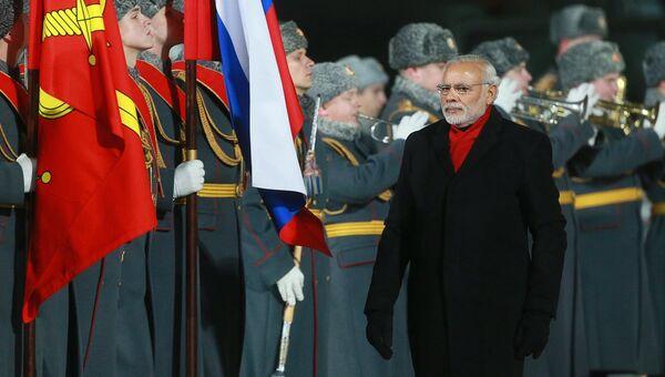 Прилет премьер-министра Республики Индии Н. Моди в Москву
