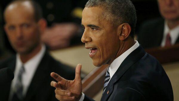 Президент США Барак Обама во время обращения к конгрессу
