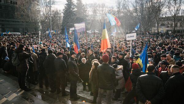 Протестующие у резиденции президента Молдавии Николая Тимофти