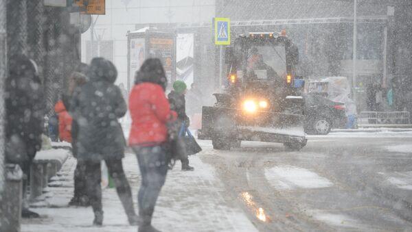 Люди во время снегопада в Подмосковье. Архивное фото