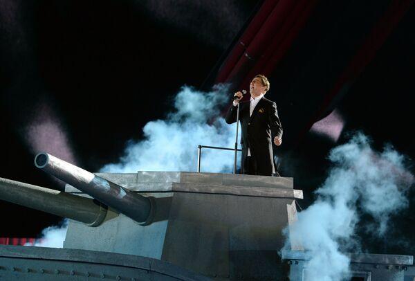 Певец Григорий Лепс во время праздничного концерта, посвященного 70-летию Победы в Великой Отечественной войне