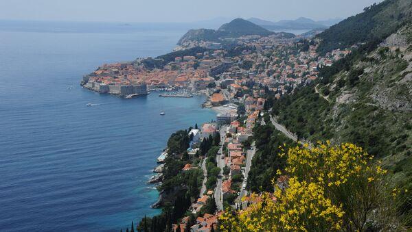 Вид на исторический центр города Дубровник, Хорватия
