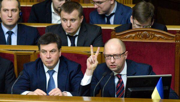 Премьер-министр Украины Арсений Яценюк на заседании Верховной Рады. Архивное фото