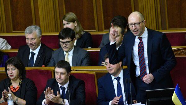 Арсений Яценюк на заседании Верховной Рады. Февраль 2016