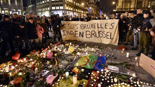 Акция памяти жертв террористических актов в Брюсселе, Бельгия. Архивное фото