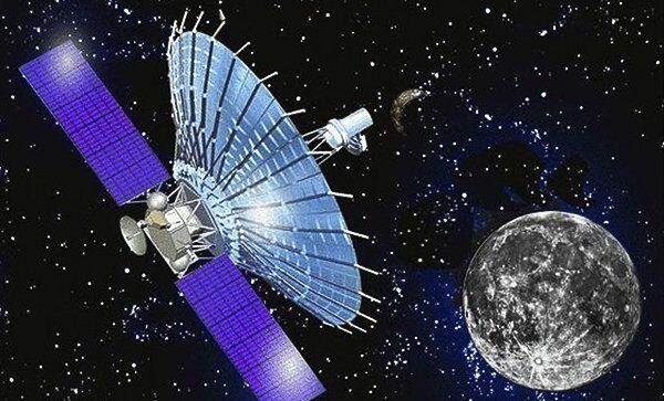 Художественное изображение космического радиотелескопа Спектр-Р проекта наземно-космического интерферометра РадиоАстрон
