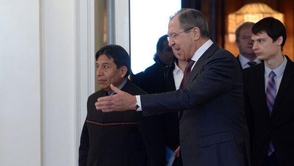 Встреча глав МИД России и Боливии С. Лаврова и Д. Чокеуанк