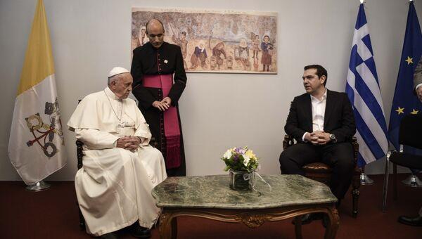 Встреча папы римского Франциска с премьером Греции Алексисом Ципрасом