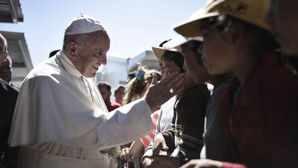 Папа римский Франциск на острове Лесбос, 16 апреля 2016
