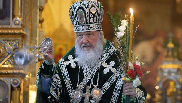 Патриарх Московский и всея Руси Кирилл во время Патриаршего служения в канун Вербного воскресенья в Храме Христа Спасителя в Москве