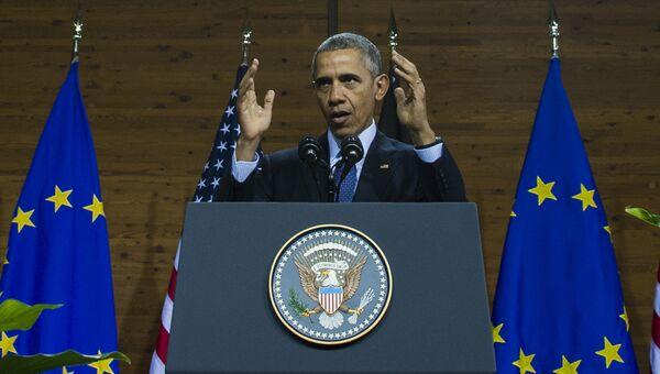 Президент США Барак Обама во время выступления в Ганновере, Германия. 25 апреля 2016.