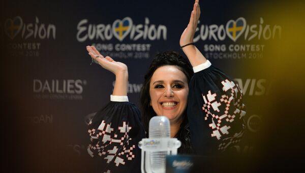 Джамала (Украина), победившая в финале международного конкурса Евровидение-2016, отвечает на вопросы журналистов на пресс-конференции
