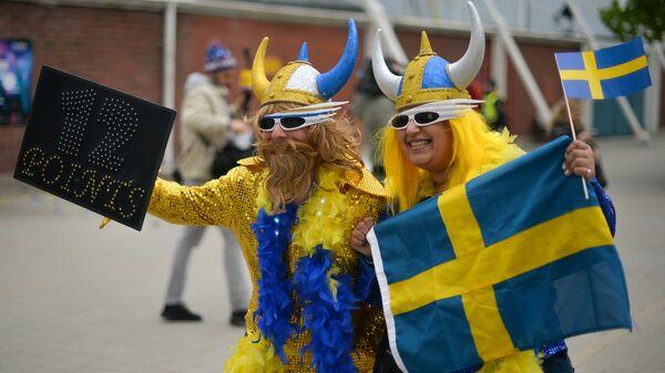 Российские болельщики перед финалом международного конкурса Евровидение-2016 на улице Стокгольма