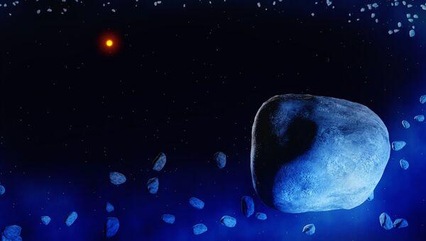 Кометы в системе HD 181327 в представлении художника