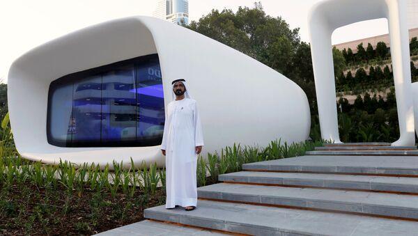 Шейх Мохаммед ибн Рашид Аль Мактум на открытии первого офисного здания, напечатанного с помощью 3D-принтера. ОАЭ