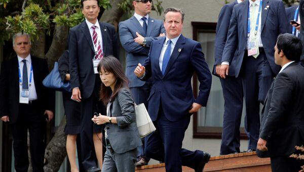 Премьер-министр Великобритании Дэвид Кэмерон во время саммита G7 в Японии. 27 мая 2016 года
