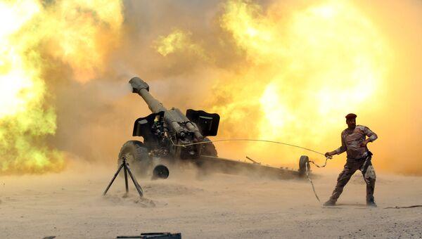 Иракские силы безопасности в ходе столкновений с боевиками исламского государства в районе Фаллуджа
