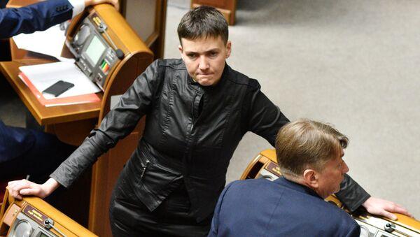 Депутат Верховной рады Украины Надежда Савченко на заседании Рады. Архивное фото