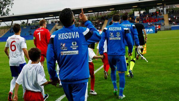 Участники футбольного матча между сборными Косово и Фарерских островов, 3 июня 2016