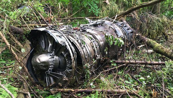 На месте крушения самолета Су-27 в Подмосковье