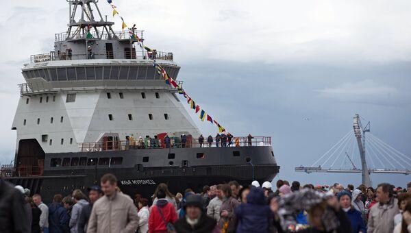 Дизель-электрический ледокол проекта 21180 Илья Муромец, построенный для ВМФ России, во время церемонии спуска на воду на АО Адмиралтейские верфи