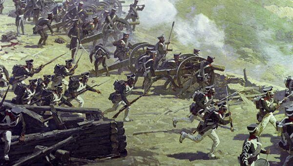 Репродукция фрагмента панорамы Гвардейцы отражают атаку французской кавалерии художника Франца Алексеевича Рубо