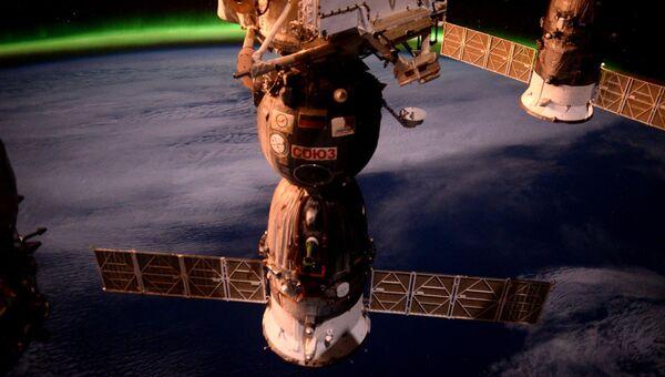 Фотография космического корабля Союз ТМА-М с борта МКС. Архивное фото