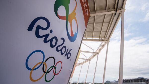 Логотип Олимпийских игр в Олимпийском парке Рио-де-Жанейро Архивное фото