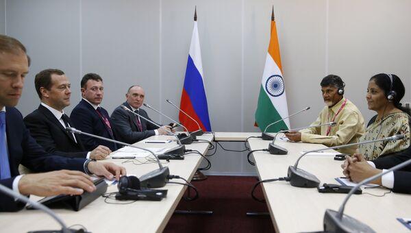 Встреча Дмитрия Медведева с министром торговли и промышленности Индии Нирмалой Ситхараман в Екатеринбурге