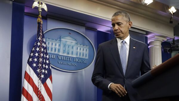Президент США Барак Обама на брифинге в зале Белого дома. Архивное фото