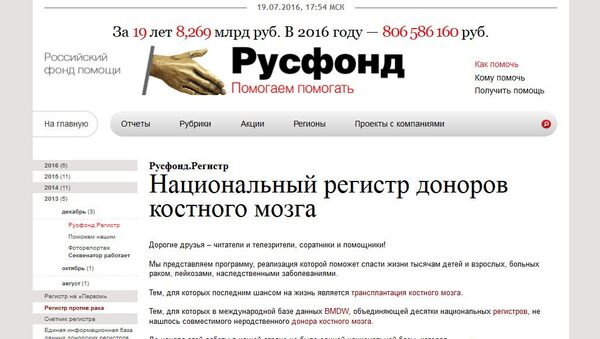 Скриншот страницы сайта Русфонда