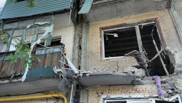 Пятиэтажный дом в Ясиноватой в Донбассе, пострадавший в результате обстрела города со стороны украинских силовиков. Архивное фото