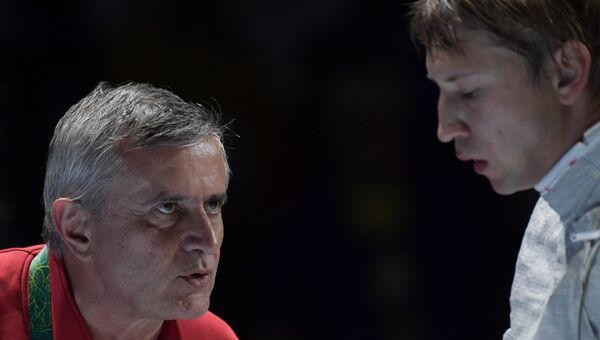 Старший тренер сборной России по фехтованию Кристиан Бауэр и Николай Ковалев на XXXI летних Олимпийских играх