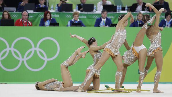 Спортсменки сборной России выступают в финале групповых соревнований по художественной гимнастике на XXXI летних Олимпийских играх