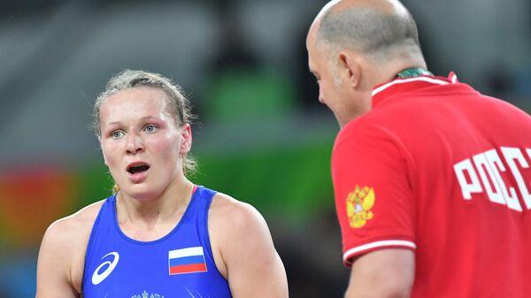 Инна Тражукова в поединке за третье место соревнований по вольной борьбе среди женщин в весовой категории до 63 кг на XXXI летних Олимпийских играх.