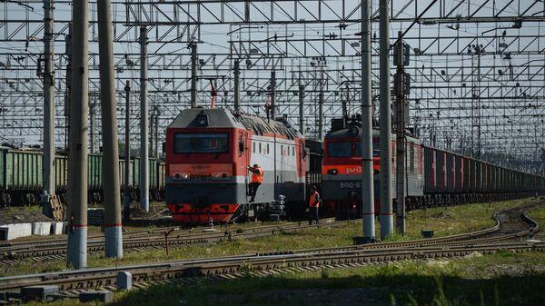 Грузовые поезда на сортировочной станции Инская Западно-Сибирской железной дороги в Новосибирске