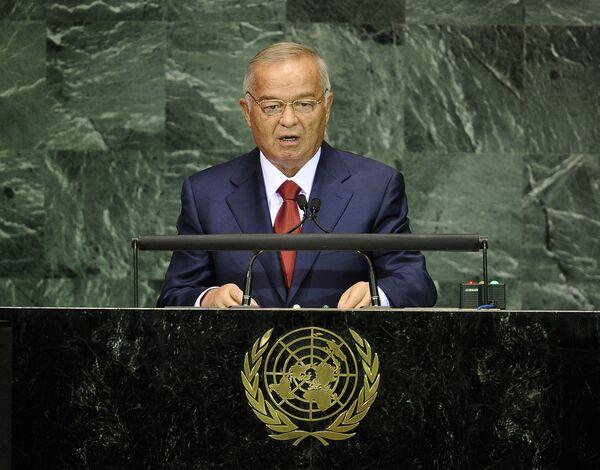 Президент Республики Узбекистан Ислам Каримов во время выступления перед Генеральной Ассамблеей ООН