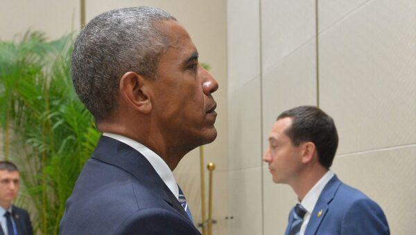 Президент США Барак Обама перед началом встречи в Ханчжоу с президентом РФ Владимиром Путиным. 5 сентября 2016