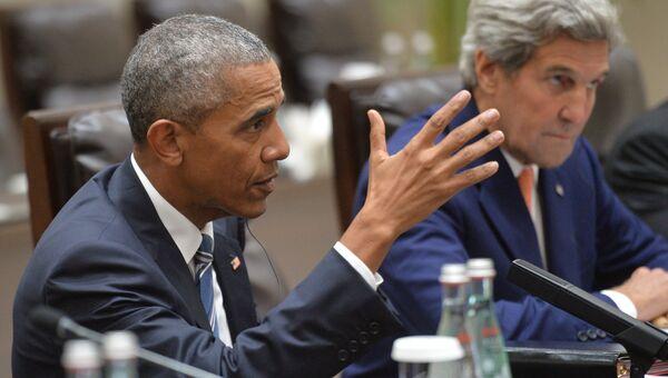Президент США Барак Обама и государственный секретарь США Джон Керри во время встречи в Ханчжоу с президентом РФ Владимиром Путиным. 5 сентября 2016
