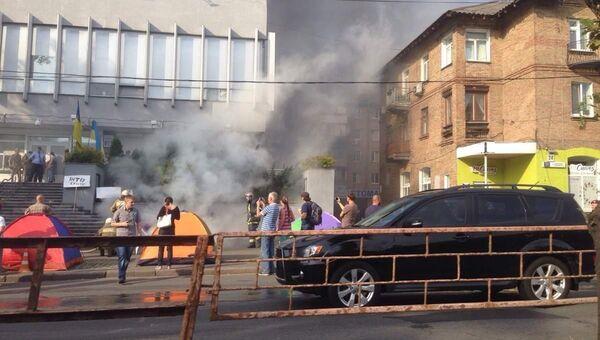 Беспорядки у здания телеканала Интер в Киеве