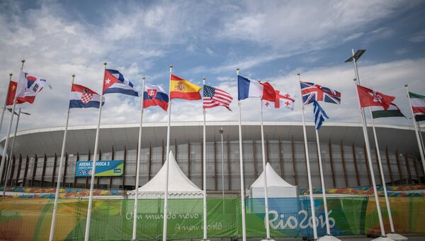 Флаги в Олимпийском парке во время XV летних Паралимпийских игр 2016 в городе Рио-де-Жанейро